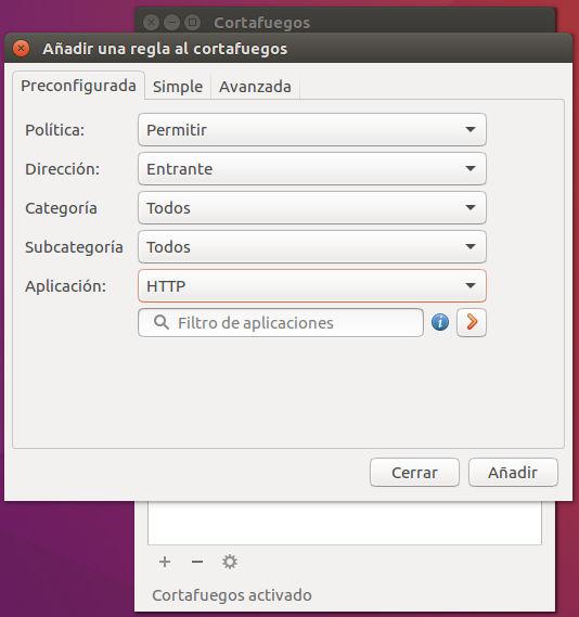 Configuración de regla preconfigurada en GUFW